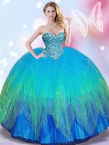Multi-color Tulle Lace Up Sweetheart Sleeveless Quinceanera Dress Beading