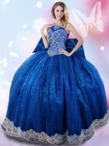 Sophisticated Royal Blue Lace Up Halter Top Beading and Bowknot Quince Ball Gowns Taffeta Sleeveless