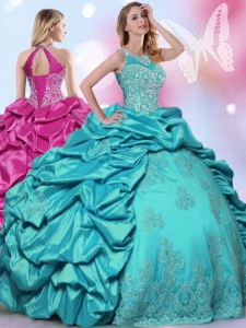 Halter Top Floor Length Lace Up Quinceanera Gowns Teal for Military Ball and Sweet 16 and Quinceanera with Beading and Lace and Appliques and Pick Ups