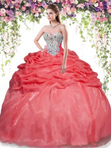 Sleeveless Floor Length Beading and Pick Ups Lace Up Sweet 16 Dresses with Red