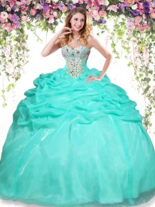 High End Apple Green Organza Lace Up Quinceanera Gown Sleeveless Floor Length Beading and Pick Ups