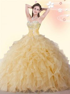 Stylish Sleeveless Lace Up Floor Length Beading and Ruffles 15th Birthday Dress