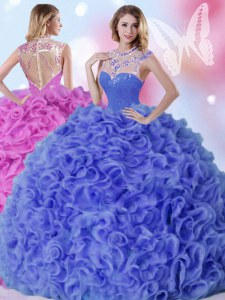 Affordable Floor Length Blue 15 Quinceanera Dress Organza Sleeveless Beading and Ruffles