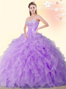 Eggplant Purple Ball Gowns Sweetheart Sleeveless Organza Floor Length Lace Up Beading and Ruffles Quinceanera Dress