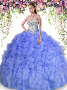 Floor Length Lavender Sweet 16 Quinceanera Dress Organza Sleeveless Beading and Ruffles