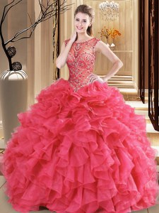 Organza Scoop Sleeveless Lace Up Beading and Ruffles Sweet 16 Quinceanera Dress in Coral Red