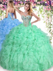Floor Length Ball Gowns Sleeveless Apple Green Quinceanera Dresses Lace Up