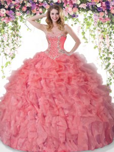 Best Selling Coral Red Ball Gowns Beading and Ruffles Quinceanera Dress Lace Up Organza Sleeveless Floor Length