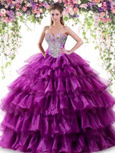 Simple Purple Lace Up Sweet 16 Quinceanera Dress Beading and Ruffled Layers Sleeveless Floor Length