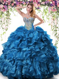 Graceful Floor Length Ball Gowns Sleeveless Blue Quinceanera Dresses Lace Up