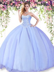 Lavender Ball Gowns Beading Sweet 16 Dress Lace Up Tulle Sleeveless Floor Length