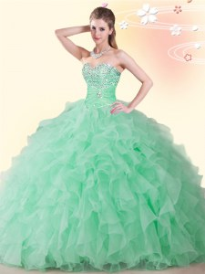 Exquisite Floor Length Apple Green 15 Quinceanera Dress Sweetheart Sleeveless Lace Up