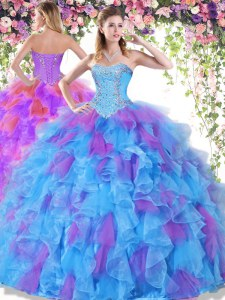 Enchanting Sweetheart Sleeveless Quince Ball Gowns Floor Length Beading and Ruffles Multi-color Organza