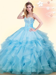 Floor Length Baby Blue Sweet 16 Dresses Organza Sleeveless Beading and Ruffles