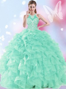 Nice Apple Green Ball Gowns Halter Top Sleeveless Organza Floor Length Lace Up Beading and Ruffles Quinceanera Gowns