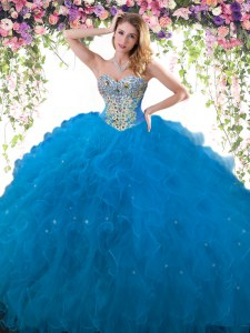 Sleeveless Tulle Floor Length Lace Up 15 Quinceanera Dress in Blue with Beading and Ruffles