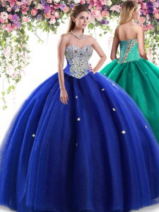 Cute Royal Blue Tulle Lace Up Quinceanera Dress Sleeveless Floor Length Beading