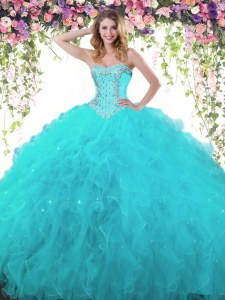 Custom Made Teal Sleeveless Organza and Tulle Lace Up Quince Ball Gowns for Military Ball and Sweet 16 and Quinceanera