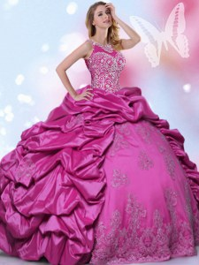 Halter Top Fuchsia Lace Up Quince Ball Gowns Beading and Lace and Appliques and Pick Ups Sleeveless Floor Length