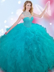 Custom Designed Teal Sleeveless Floor Length Beading Lace Up 15th Birthday Dress