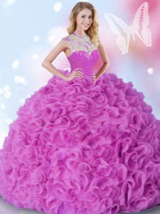 New Style Organza High-neck Sleeveless Zipper Beading and Ruffles Quinceanera Gowns in Fuchsia