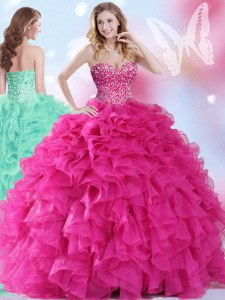 Hot Pink Sleeveless Floor Length Beading and Ruffles Lace Up Sweet 16 Dress