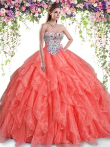 Popular Sleeveless Beading and Ruffles Lace Up Sweet 16 Dress