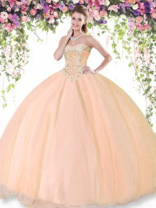 Sweetheart Sleeveless Sweet 16 Dresses Floor Length Beading Peach Tulle