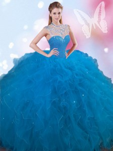 Romantic Blue Lace Up High-neck Beading Quinceanera Dress Tulle Sleeveless