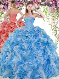 Sophisticated Blue And White Sleeveless Organza Lace Up Sweet 16 Dress for Military Ball and Sweet 16 and Quinceanera