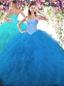 Charming Blue Lace Up Sweetheart Beading Quinceanera Gowns Tulle Sleeveless