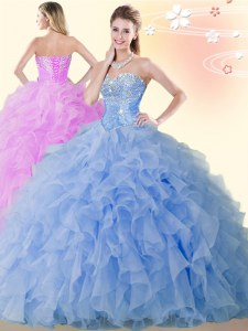 Clearance Blue Ball Gowns Organza Sweetheart Sleeveless Beading and Ruffles Floor Length Lace Up Ball Gown Prom Dress