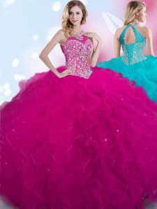 Trendy Halter Top Tulle Sleeveless Floor Length Quinceanera Dress and Beading