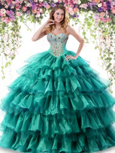 Glittering Floor Length Green Vestidos de Quinceanera Organza Sleeveless Beading and Ruffled Layers