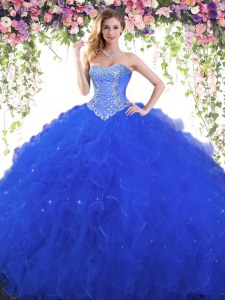 Royal Blue Sweetheart Lace Up Beading 15th Birthday Dress Sleeveless