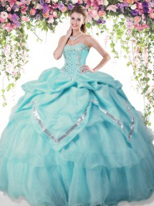 Sleeveless Lace Up Floor Length Beading and Pick Ups 15 Quinceanera Dress