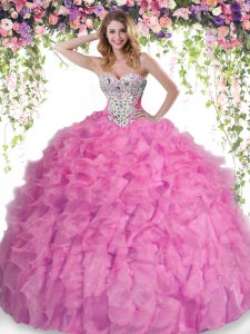 Modern Beading and Ruffles Quinceanera Gown Rose Pink Lace Up Sleeveless Floor Length