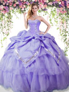 Discount Lavender Quinceanera Gowns Military Ball and Sweet 16 and Quinceanera and For with Beading and Pick Ups Sweetheart Sleeveless Lace Up