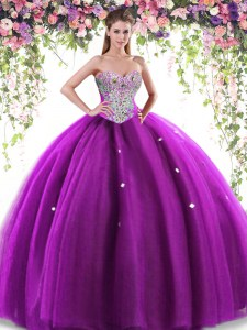 Eggplant Purple Ball Gowns Tulle Sweetheart Sleeveless Beading Floor Length Lace Up Quinceanera Dresses