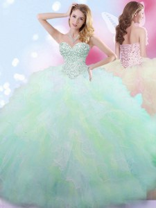 Stunning Multi-color Tulle Lace Up Vestidos de Quinceanera Sleeveless Floor Length Beading