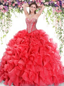 Organza Sweetheart Sleeveless Sweep Train Lace Up Beading and Ruffles Quinceanera Gowns in Red