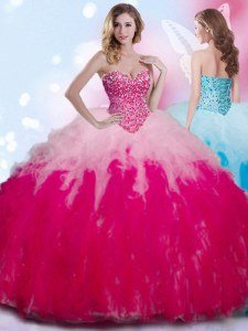 Sleeveless Tulle Floor Length Lace Up Ball Gown Prom Dress in Multi-color with Beading and Ruffles