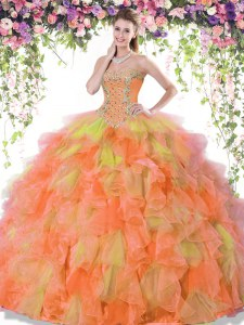 Multi-color Sweetheart Lace Up Beading and Ruffles 15th Birthday Dress Sleeveless