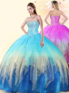 Multi-color Sleeveless Floor Length Beading Lace Up Quinceanera Dresses