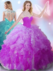 Fashion High-neck Sleeveless Zipper Sweet 16 Quinceanera Dress Multi-color Tulle