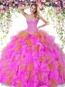 Fancy Multi-color Sleeveless Organza Lace Up Quinceanera Gown for Military Ball and Sweet 16 and Quinceanera