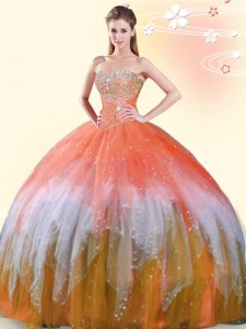 Multi-color Tulle Lace Up Sweetheart Sleeveless Floor Length Vestidos de Quinceanera Beading