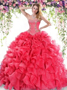 On Sale Sweetheart Sleeveless Sweep Train Lace Up Quinceanera Gown Red Organza