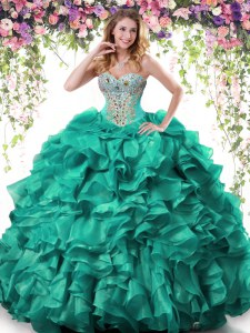 Adorable Floor Length Turquoise Sweet 16 Dress Organza Sleeveless Beading and Ruffles