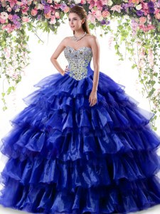 Fabulous Royal Blue Ball Gowns Sweetheart Sleeveless Organza Floor Length Lace Up Beading and Ruffled Layers Quinceanera Dress